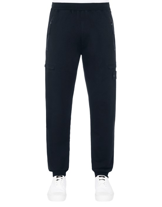 STONE ISLAND 655F3 GHOST PIECE_COTTON STRETCH FLEECE  Trousers Man Blue