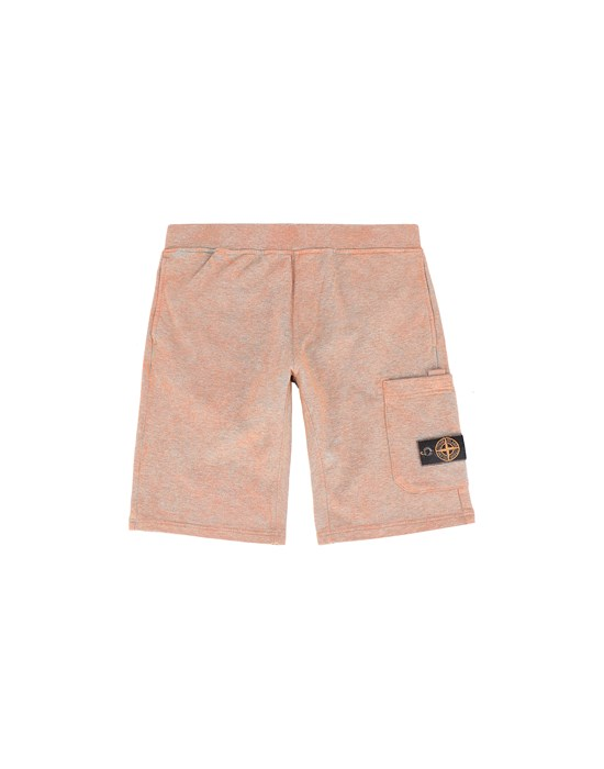 STONE ISLAND JUNIOR 61244 DUST COLOUR TREATMENT Fleece Bermuda Shorts Man ORANGE MELANGE