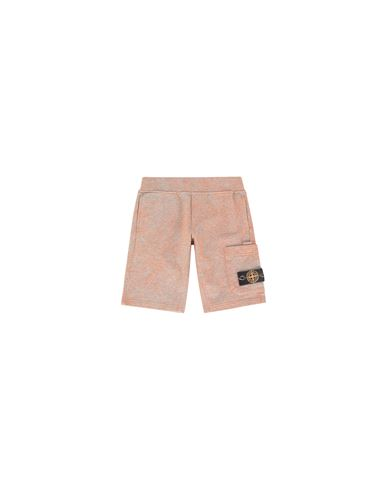 STONE ISLAND KIDS 61244 DUST COLOUR TREATMENT Fleece Bermuda Shorts Man ORANGE MELANGE EUR 178
