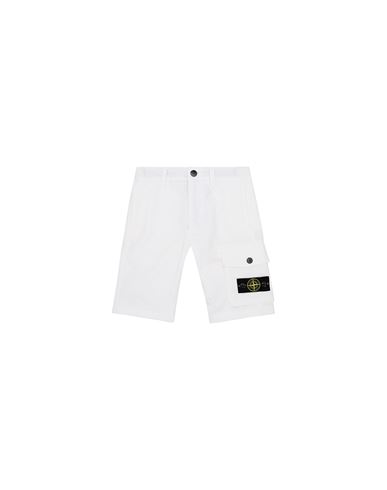 STONE ISLAND KIDS L0412 FLEECE BERMUDA SHORTS Man White EUR 151