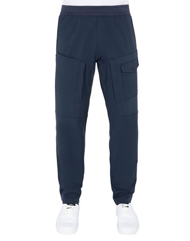 STONE ISLAND 312X4 STONE ISLAND MARINA<br>TWO-WAY STRETCH RECYCLED NYLON TWILL Trousers Man Avio Blue EUR 281