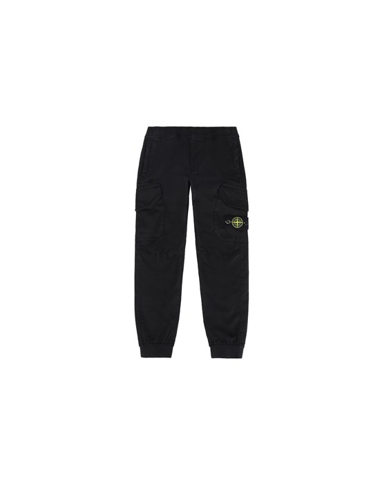 STONE ISLAND KIDS 30412 PANTS - 5 POCKETS Man Black