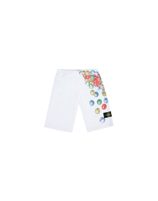 STONE ISLAND JUNIOR 61940 BUBBLE GUM PRINT Fleece Bermuda Shorts Man White