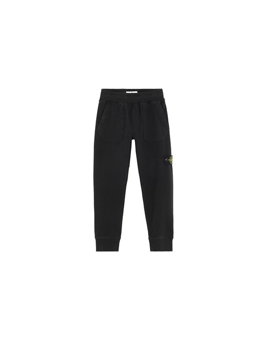 STONE ISLAND JUNIOR 60442 Fleece Pants Man Black