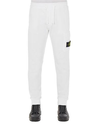 STONE ISLAND 64520 BRUSHED COTTON FLEECE_SLIM FIT Fleece Trousers Man White EUR 249