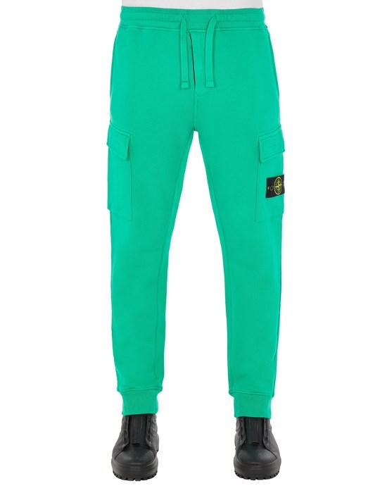 STONE ISLAND 65220 BRUSHED COTTON FLEECE_REGULAR FIT Fleece Trousers Man Green