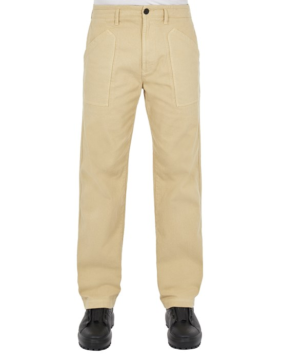 STONE ISLAND 31604 TEXTURED BRUSHED RECYCLED COTTON  Trousers Man Ecru