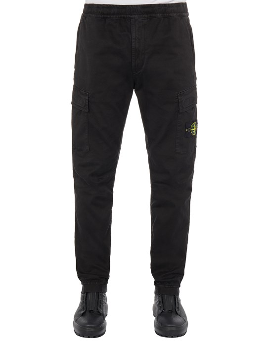 STONE ISLAND 313L1 STRETCH BROKEN TWILL COTTON_'OLD' EFFECT_REGULAR TAPERED FIT Trousers Man Black