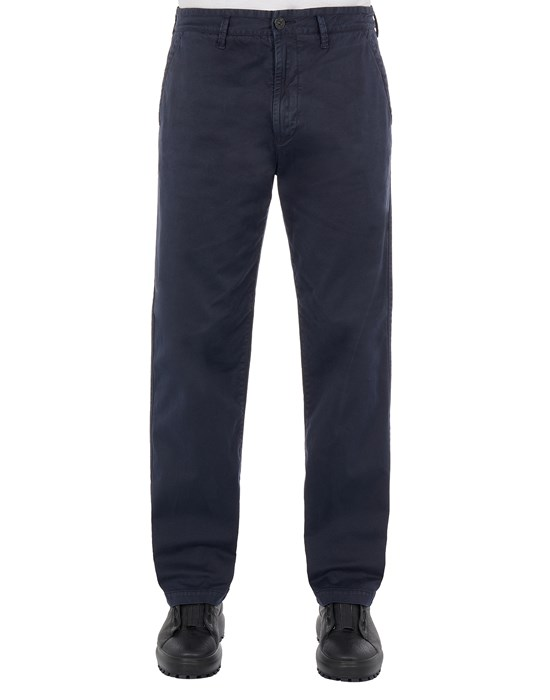 STONE ISLAND 315L1 STRETCH BROKEN TWILL COTTON_'OLD' EFFECT_REGULAR FIT Trousers Man Ink Blue