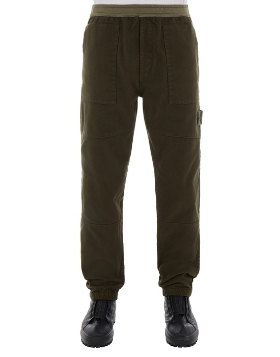 STONE ISLAND 311F3 COTTON NYLON MOLESKIN-TC_GHOST PIECE - REGULAR FIT Trousers Man Military Green