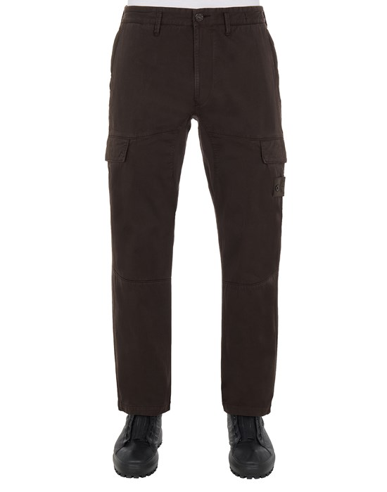 STONE ISLAND 312F2 STRETCH COTTON WOOL SATIN_GHOST PIECE - REGULAR TAPERED FIT Trousers Man Dark Brown