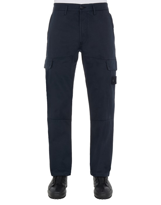 STONE ISLAND 312F2 STRETCH COTTON WOOL SATIN_GHOST PIECE - REGULAR TAPERED FIT Trousers Man Blue