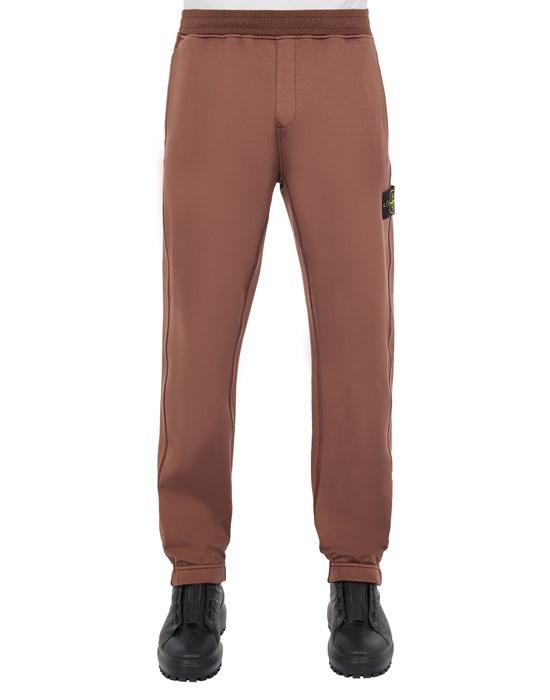 STONE ISLAND 63347 COTTON NYLON FLEECE_REGULAR FIT Fleece Trousers Man MAHOGANY BROWN