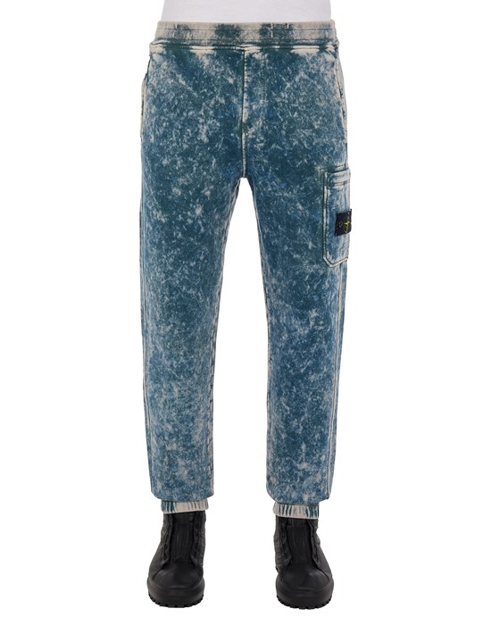 Fleece Trousers Man 61438 COTTON FLEECE + OFF-DYE OVD TREATMENT_REGULAR FIT Front STONE ISLAND