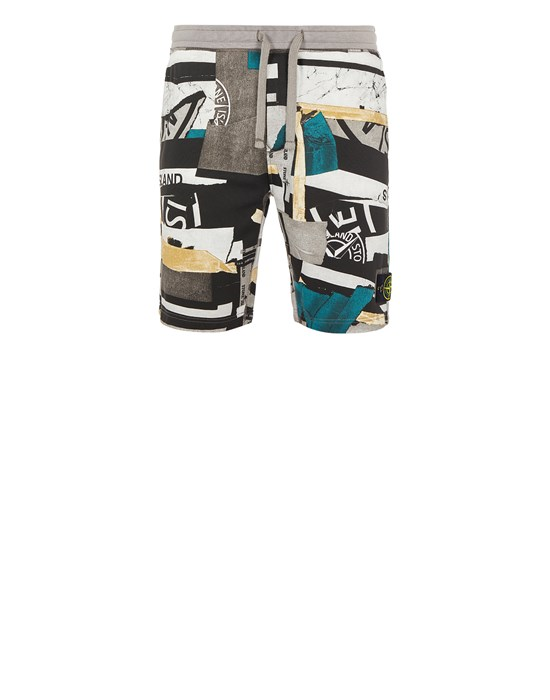 Bermuda Man 66587 BRUSHED COTTON FLEECE_'MIXED MEDIA ALL OVER' PRINT_REGULAR FIT Front STONE ISLAND