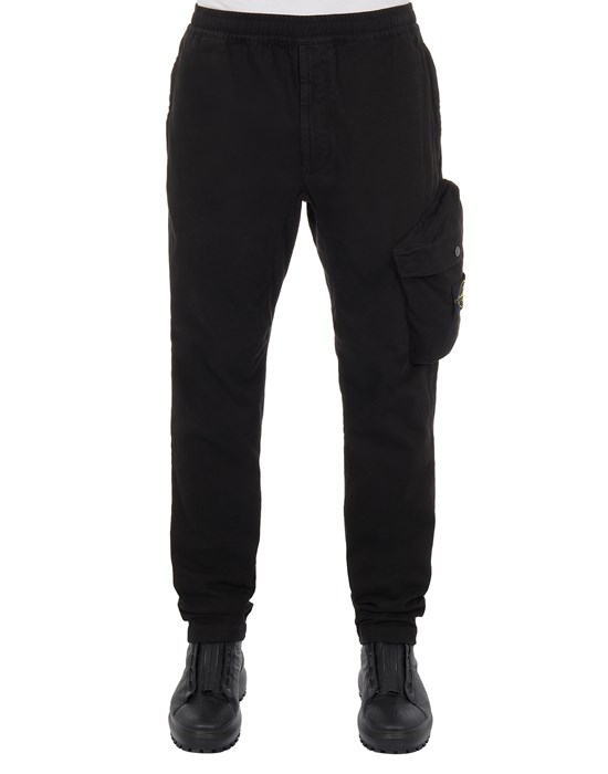 STONE ISLAND 30104 BRUSHED TEXTURED RECYCLED COTTON_REGULAR TAPERED FIT Trousers Man Black
