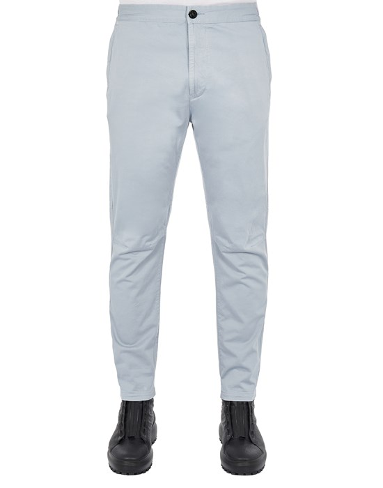 STONE ISLAND 30914 STRETCH COTTON WOOL SATIN_REGULAR TAPERED FIT Trousers Man Pearl Grey