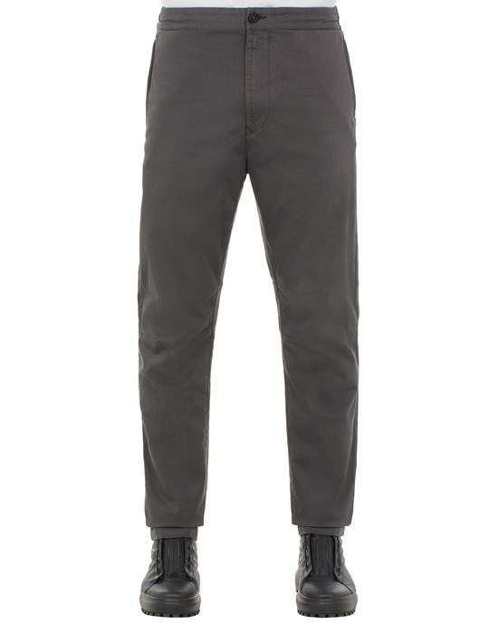 STONE ISLAND 30914 STRETCH COTTON WOOL SATIN_REGULAR TAPERED FIT Trousers Man Steel Grey