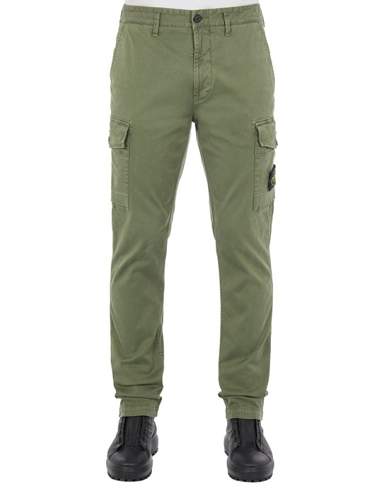 Sold out - Other colours available STONE ISLAND 318L1 STRETCH BROKEN TWILL COTTON_'OLD' EFFECT_SLIM FIT Trousers Man Sage Green