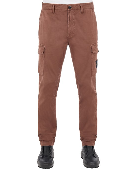 STONE ISLAND 318L1 STRETCH BROKEN TWILL COTTON_'OLD' EFFECT_SLIM FIT Trousers Man MAHOGANY BROWN
