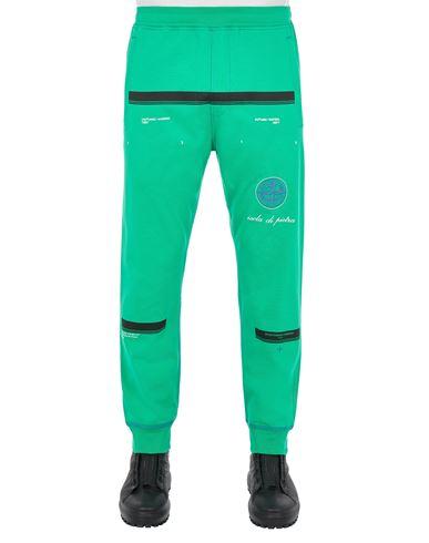 STONE ISLAND 65595 GAUZED COTTON JERSEY_'ULTRA INSTITUTIONAL FOUR-FIVE' PRINT_REGULAR FIT Fleece Trousers Man Green EUR 249
