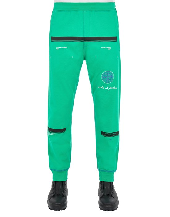 Fleece Trousers Man 65595 GAUZED COTTON JERSEY_'ULTRA INSTITUTIONAL FOUR-FIVE' PRINT_REGULAR FIT Front STONE ISLAND