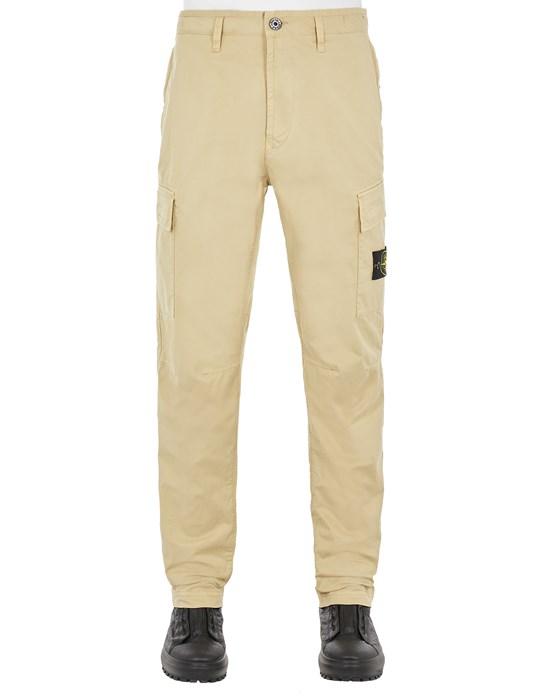 STONE ISLAND 30510 STRETCH COTTON GABARDINE_REGULAR TAPERED FIT Trousers Man Ecru