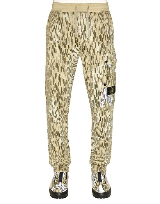 STONE ISLAND 651E3 COTTON FLEECE 'RAIN CAMO' PRINT_REGULAR FIT Fleece Trousers Man Ecru