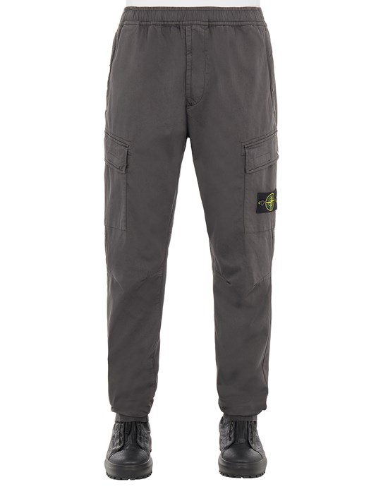 STONE ISLAND 31314 STRETCH COTTON WOOL SATIN_REGULAR TAPERED FIT Trousers Man Steel Grey