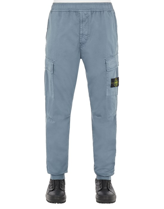 STONE ISLAND 31314 STRETCH COTTON WOOL SATIN_REGULAR TAPERED FIT Trousers Man Pastel Blue