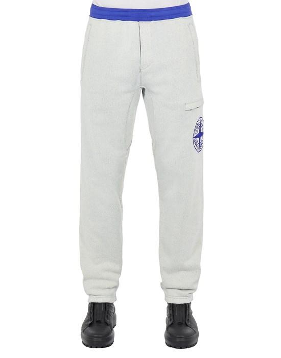 STONE ISLAND 62937 DIAGONAL POLYESTER COTTON FLEECE_REGULAR FIT Fleece Trousers Man Periwinkle