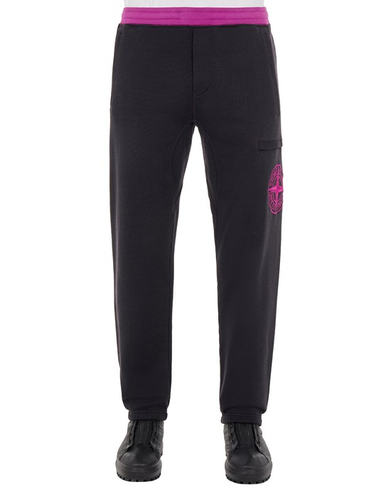 STONE ISLAND 62937 DIAGONAL POLYESTER COTTON FLEECE_REGULAR FIT Fleece Trousers Man Magenta
