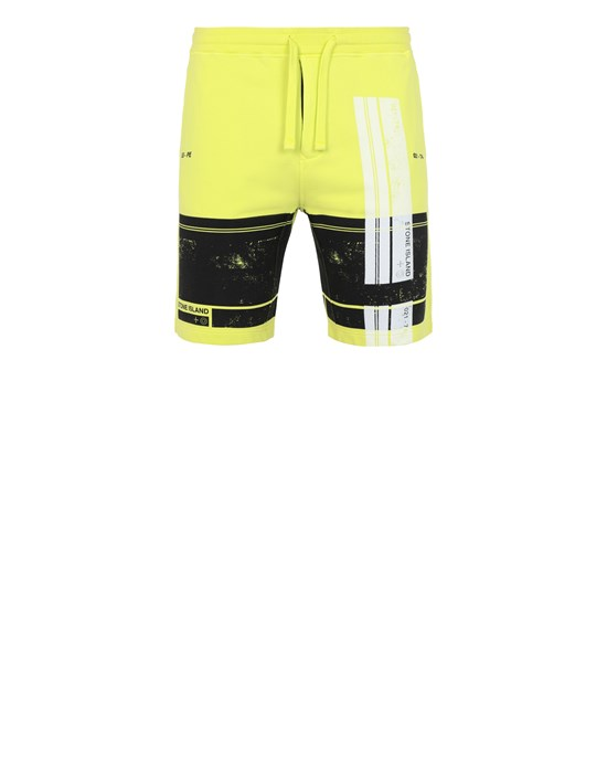 STONE ISLAND 66596 'BLOCK SHORTS'  Fleece Bermuda Shorts Man Pistachio Green