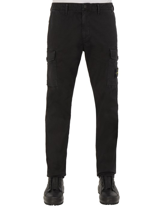 TROUSERS Man 318L1 STRETCH BROKEN TWILL COTTON_'OLD' EFFECT_SLIM FIT Front STONE ISLAND