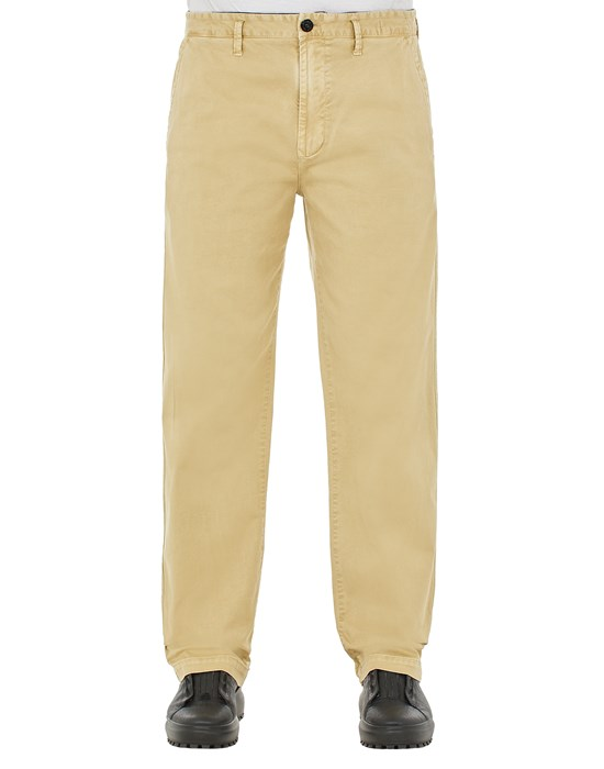 STONE ISLAND 315L1 STRETCH BROKEN TWILL COTTON_'OLD' EFFECT_REGULAR FIT Trousers Man Ecru