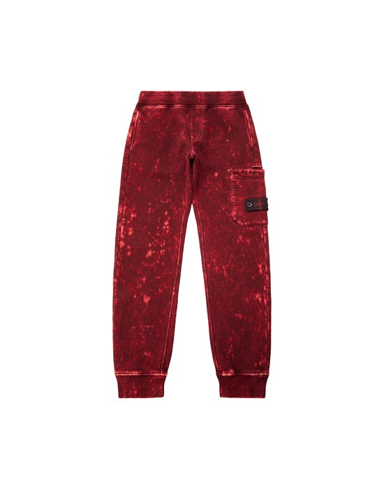 STONE ISLAND JUNIOR 61241 OFF DYE OVD TREATMENT Fleece Trousers Man Maroon