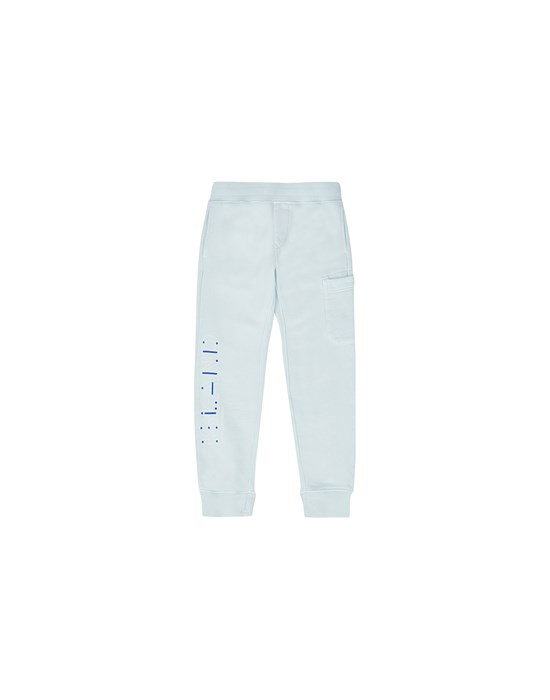 STONE ISLAND JUNIOR 61840 'MORSE CODE' Fleece Trousers Man Sky Blue