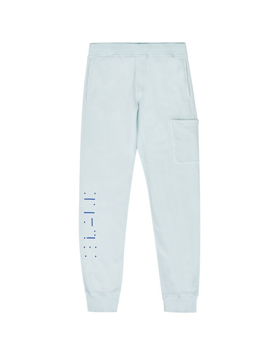 STONE ISLAND JUNIOR 61840 'MORSE CODE' Fleece Pants Man Sky Blue