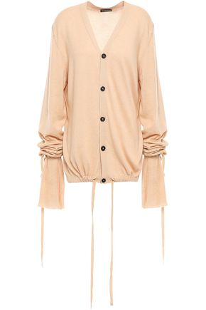 ANN DEMEULEMEESTER Gathered cotton and cashmere-blend cardigan