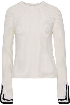 Crochet Trimmed Ribbed Knit Sweater by Helmut Lang