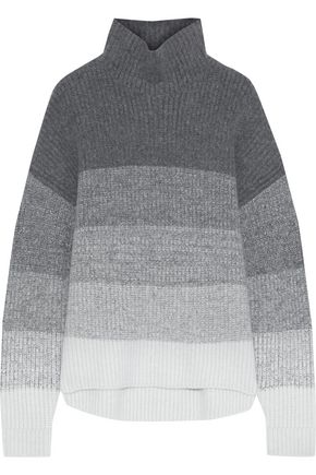 IRIS & INK グラデーションリブ編みニット タートルネックセーター