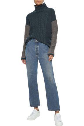 IRIS & INK Almeta brushed cable-knit turtleneck sweater