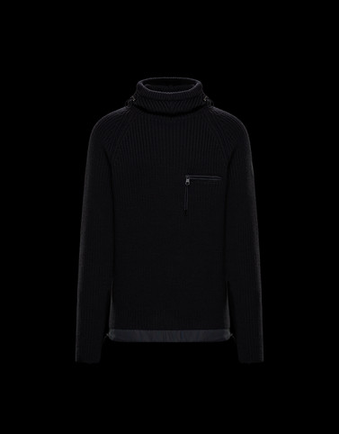 HOODED JUMPER Black Knitwear & Sweatshirts Man