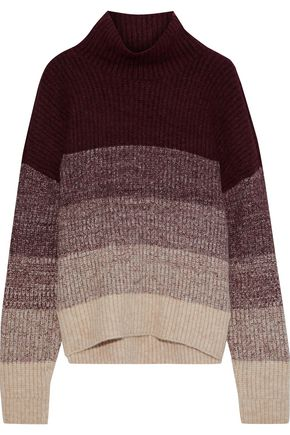 IRIS & INK Jenny color-block ribbed-knit turtleneck sweater