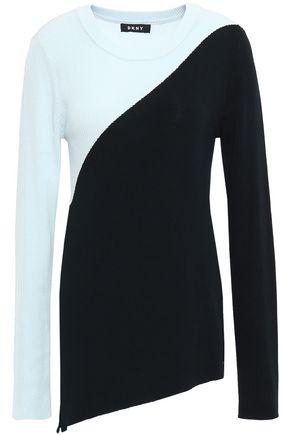 DKNY Two-tone ribbed intarsia-knit sweater