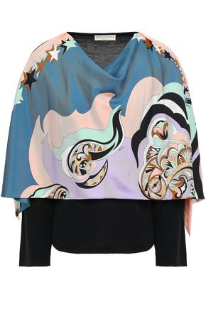 EMILIO PUCCI Printed silk-paneled wool sweater