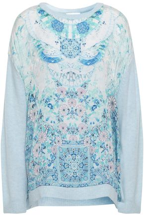 CAMILLA Head In The Clouds printed silk crepe de chine-paneled wool and cashmere-blend sweater