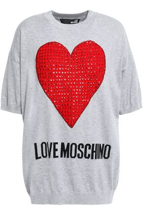 LOVE MOSCHINO Crystal-embellished embroidered mélange cotton top