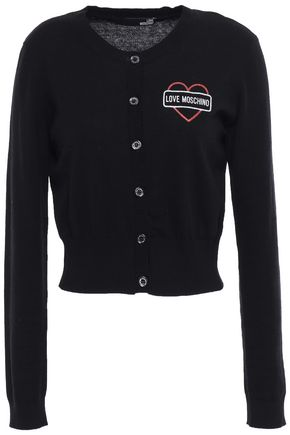 LOVE MOSCHINO Glittered logo-embellished cotton cardigan