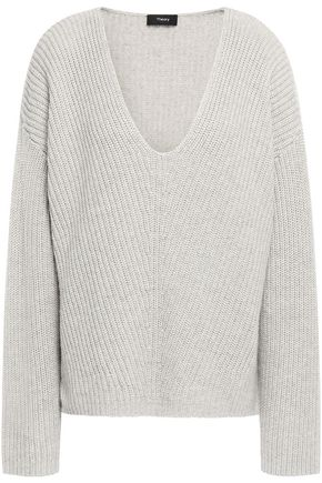 THEORY Ribbed cotton-blend sweater
